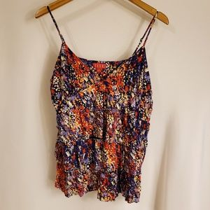 Elle XL colorful ruffled tank top. Soft cotton.